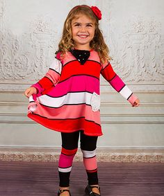 This Fuchsia Stripe Lace-Tail Top & Leggings - Toddler & Girls by Mia Belle Baby is perfect! #zulilyfinds