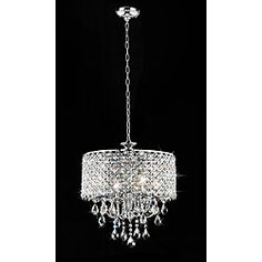 @Overstock - Add an elegant touch to your home with this 4-light round chandelier. This light fixture features glittering crystals.http://www.overstock.com/Home-Garden/Chrome-Finish-4-light-Round-Chandelier/4737590/product.html?CID=214117 $227.99