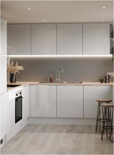White Glossy Kitchen, Grey Gloss Kitchen, Modern Kitchen Cupboards, Gloss Kitchen Cabinets, Modern Grey Kitchen, Kitchen Cabinet Doors, Grey Cabinets, Kitchen Reno, Free Kitchen Design