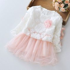 Long Sleeved Lace Tops and Dress Two Pieces Princess Tutu Birthday Party Dress in pink