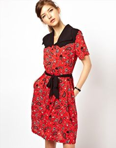 Fred Perry For The Amy Winehouse Foundation Bandana Print Shirt Dress - back yoke is pointed western style