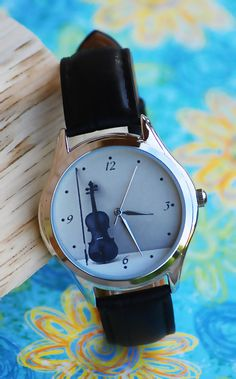 Violin Watch for Women. Music Gifts. Womens Watch. Classic Style Leather Watch by HandMadePeople www.Handmadepeople.etsy.com