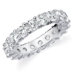 14K White Gold Shared-Prong Diamond Wedding Anniversary Eternity Band (4.0 cttw, H-I Color, SI1-SI2 Clarity) RING SIZE 4.5: Eternity Wedding Bands: Jewelry