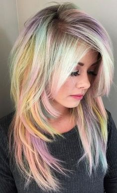Expressive Opal Hair Color For Every Occasion blonde-and-pastel-rainbow-hair Cabello Opal, Pravana Hair Color, Pastel Rainbow Hair, Colorful Hair, Multicolored Hair, Opal Hair, Ombré Hair, Emo Hair, Curly Hair