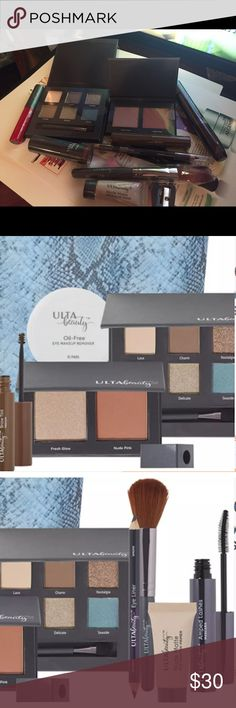 ULTA BEAUTY 10 PIECES BUNDLE *Full size Amped Mascara in Jet Black (0.2 oz) *Full Size Matte Lipstick in Petal (limited edition) (0.145 oz) *Full Size Brow Tint in Medium (0.176 oz) *Eye shadow Palette shades in Lace, Charm, Nostalgia, Vintage, Delicate, and Seaside (0.053 oz) *Cheek Palette shades in Fresh Glow Highlighter and Nude Pink Blush (0.155 oz) *Full size Nude Matte Eye Shadow Primer (0.27 oz) *Lip Gloss Stain-Treason (0.169 oz) *Dual Eye Liner-Majesty and Smoke (0.053 oz) *Blush…