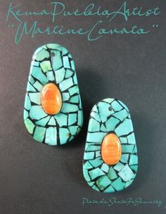 Orange And Turquoise, Turquoise Jewelry, Pueblo Pottery, Southwest Jewelry, Shell Jewelry, How To Make Earrings, Santa Fe, Native American, Santos