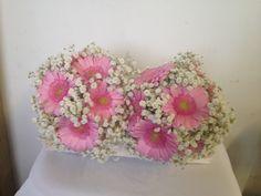 Bridesmaids bouquets of gypsophilia and pink gerberas