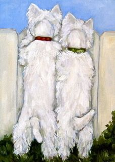 """Nosey Neighbors"" WESTIE MATTED PRINT Dog Art RANDALL"