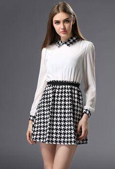 Shop Black White Long Sleeve Houndstooth Chiffon Dress online. Sheinside offers Black White Long Sleeve Houndstooth Chiffon Dress & more to fit your fashionable needs. Free Shipping Worldwide!