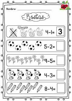 Christmas and Winter - Literacy and Math Activities Subtraction Kindergarten, Preschool Writing, Kindergarten Math Worksheets, Math Literacy, Preschool Learning Activities, In Kindergarten, First Grade Math Worksheets, Kids Math Worksheets, Math For Kids