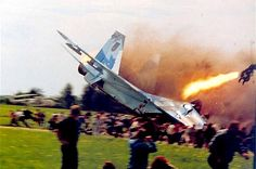 """""""The Sknyliv air show disaster occurred on Saturday 27 July 2002, when a Ukrainian Air Force Sukhoi Su-27 of the Ukrainian Falcons crashed during an aerobatics presentation at Sknyliv airfield near Lviv, Ukraine. 77 people were killed and 543 injured, 100 of whom were hospitalised. It is the deadliest air show accident in history."""""""