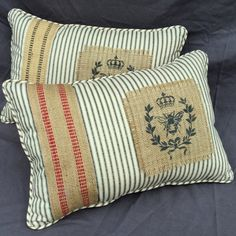 Magnifique! We have created this French beauty pillow using black and cream ticking, French burlap back, French burlap strapping along with a