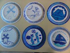 Voor koningsdag tekenles: Delfs blauwe bordjes