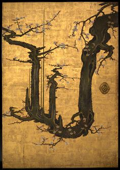 Attributed to Kano Sansetsu: The Old Plum (1975.268.48) | Heilbrunn Timeline of Art History | The Metropolitan Museum of Art..............so beautiful it hurts....in a good way :)