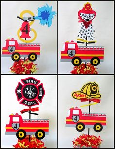 Fire Engine, Fire Truck Birthday Theme Centerpieces Choose From: Fireman's Hat, Dalmatian, Fireman's Badge, Fire Hydrant Birthday Party Centerpieces, 4th Birthday Parties, Fire Truck Birthday Party, 3rd Birthday, Fireman Party, Firefighter Birthday, Fireman Crafts, Firefighter Baby Showers, Fire Trucks