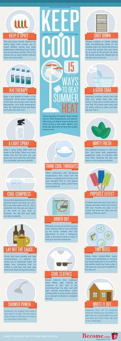 beat summer heat infographic Beat the Heat: 15 Tipps, um der Hitze zu trotzen Keep Cool, Stay Cool, Summer Heat, Summer Diy, Summer Life Hacks, Conditioner, Beat The Heat, Multiple Sclerosis, Heating And Cooling
