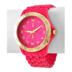 "HOT PINK STAINLESS STEEL WATCH WATCH FACE (GLASS) : 1 1/4"" DIAMETER Price-$23. ESTIMATED SHIP TIME 3-5 days"