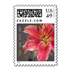 Pink & White Lily Small Vertical Postage Stamps