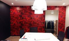 Deep red hibiscus vinyl print wallpaper in a showroom in the city Print Wallpaper, Fabric Wallpaper, Surface Pattern Design, Hibiscus, Showroom, South Africa, Fabrics, Wallpapers, House Styles