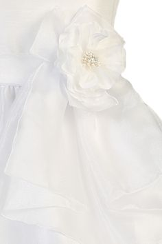 f3c32be2cf2bd Crystal Organza Girls Communion Dress w. Waterfall Overlay 7-10. Filles  Robes ...