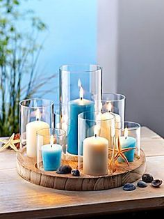 XL Design Kerzenständer Kerzenhalter Kerzentablett Teelichthalter Holz Glas Deko
