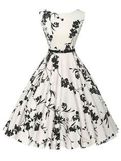 Flare de impressão branco vestido chique poliéster vestido Vintage - Milanoo.com