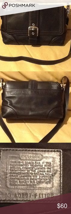 Coach black leather Hampton cross body bag So versatile! Style No A0867-F11196. The strap can be used as a crossbody, or doubled up as a shoulder bag. Open interior with a zipper pocket on one side and two open pockets on the other. Front flap has snap enclosure. There is some wear on the bottom (see photos). Otherwise, used condition with normal wear. Great bag! Coach Bags Crossbody Bags