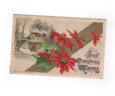 Best Christmas Wishes. antique postcard embossed with gold accents. Collectible ephemera card scrapbook embellishments collage. by PickleladyPapers on Etsy