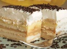 Pudding butter biscuit cake without baking - Kuchen - Best Tart Recipes Czech Recipes, Croatian Recipes, Hungarian Recipes, Tart Recipes, Sweet Recipes, Dessert Recipes, Cheesecake, Food Cakes, Cupcake Cakes