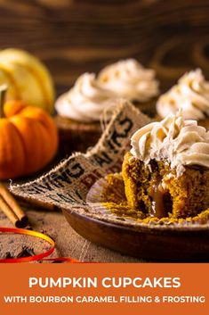 These are the absolute best pumpkin cupcakes! With a bourbon caramel filling and frosting, these brown butter pumpkin cupcakes are loaded with warm pumpkin spice, and you'll find this easy pumpkin cupcake recipe is a breeze to make. Köstliche Desserts, Best Dessert Recipes, Cupcake Recipes, Delicious Desserts, Dinner Recipes, Potluck Recipes, Party Recipes, Pumpkin Recipes, Fall Recipes