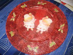 Piatto decoupage angioletti