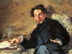 Edouard Manet, 1876, Portret van Stéphane Mallarmé, Musée D'orsay. Manet wist al op jonge leeftijd, tegen de wens van zijn ouders in, dat hij kunstenaar wilde worden. Deze eigenzinnigheid bleef zijn hele carrière terugkomen en ondanks dat hij een voorloper was in de overgang van Realisme naar Impressionisme maakte hij altijd zijn eigen keuzes. Zo schilderde hij graag in zijn atelier en bood zijn werk, met wisselend resultaat, bij de traditionele Salons aan. Tegelijkertijd was hij bevriend…
