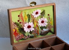 Embroidered Tea Box with meadow Embroidered by Indrasideas