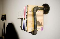 Metal Pipes Into Industrial Bookshelf Sconces