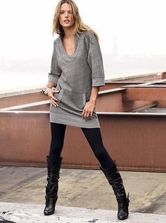 Pictures of several women in tunic and leggings | Fashion Inspiration Blog | Here is Alessandra Ambrosio | The tunic is a runaway favorite to pair with leggings. Many women who favor tunics do so because they are usually forgiving to their figure.