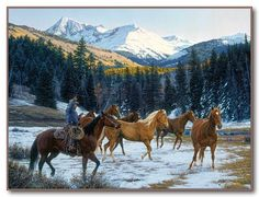 "Tim Cox - Western Art ""Where The Sun Shines On The Mountain Top"""