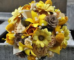 Yellow Gray Burlap Wedding Bouquet or Centerpiece   AccentsandPetals - Wedding on ArtFire