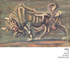 소, 이중섭, 1953년작  35X52cm, 종이에 유채, 에나멜