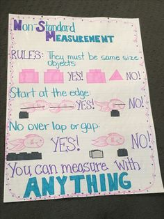 Measuring Chart for Math Best Of Non Standard Measurement Anchor Chart Nonstandard Measurement, Measurement Kindergarten, Kindergarten Anchor Charts, Measurement Activities, Math Anchor Charts, Kindergarten Math, Teaching Math, Math Activities, Maths