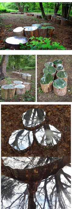 Artist Lee Borthwick installs mirrors in nature to offer a sense of peace and self-reflection. Arte 3d, Land Art, Outdoor Mirrors Garden, Garden Mirrors, Outdoor Art, Outdoor Gardens, Projection Installation, Artistic Installation, Art Installations