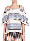 Tanya Taylor - Textured-Stripe Off-The-Shoulder Top - saks.com