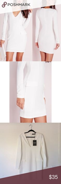 "SALE❗️Missguided White Bodycon Dress Figure flattering bodycon v-neck dress with ruffle pocket detailing. Length is approx 32.5"".   95% polyester 5% elastane Missguided Dresses"