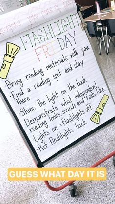 Flashlight Friday Reading The First Week in First Grade First Grade Classroom, Future Classroom, School Classroom, Classroom Activities, Teaching First Grade, 2nd Grade Teacher, Classroom Decor, Disney Classroom, Classroom Projects