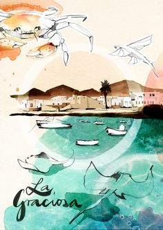 Seven illustrators including Malika Favre, Mads Bergs and Jens Magnusson have created artworks inspired by the Canary Islands for a new online tourism campaign devised by Tenerife design studio and commissioned by the Canary Islands Tourist Board. Copic Drawings, Spanish Art, Illustration Art Drawing, Japanese Graphic Design, Canary Islands, Graphic Design Posters, Vintage Travel Posters, Illustrators, Original Artwork
