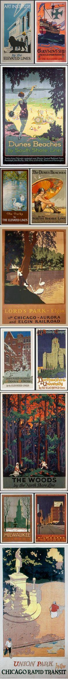 1920's Chicago promotional posters on Imprint: Willard Frederic Elmes, Otto Brennemann, Hazel B. Urgelles, Norman Erickson, Oscar Rabe Hanson, Robert Beebe, Arthur A. Johnson, Willard Frederic Elmes