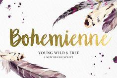 """""""Bohemienne"""" Brush Script by DrawBabyDraw Designs on Creative Market"""