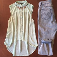 Mint colored high low button down tank Mint colored sheer button down high low tank top. Square buttons are a cure detail. 100% polyester. Worn once. Work Week Chic Host Pick! Topshop Tops Tank Tops
