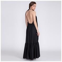 Boho chic evening dress, black