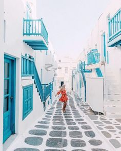 dancing through the streets of santorini