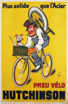 Pneu Velo #Hutchinson original vintage poster by #Mich from 1928 France